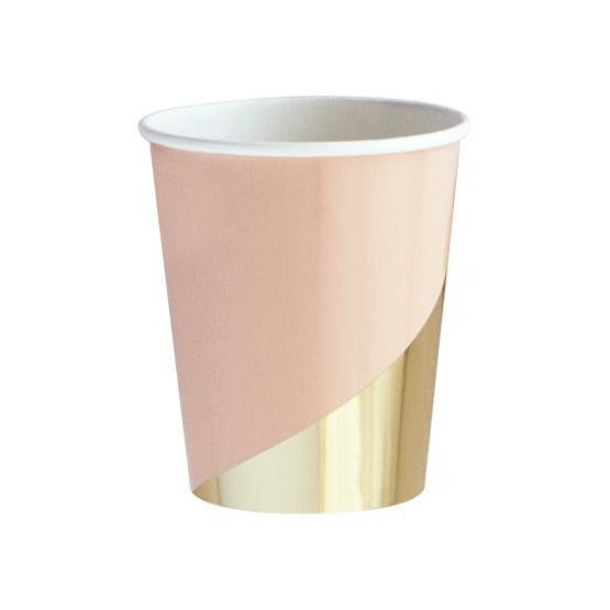 peach and gold paper cup