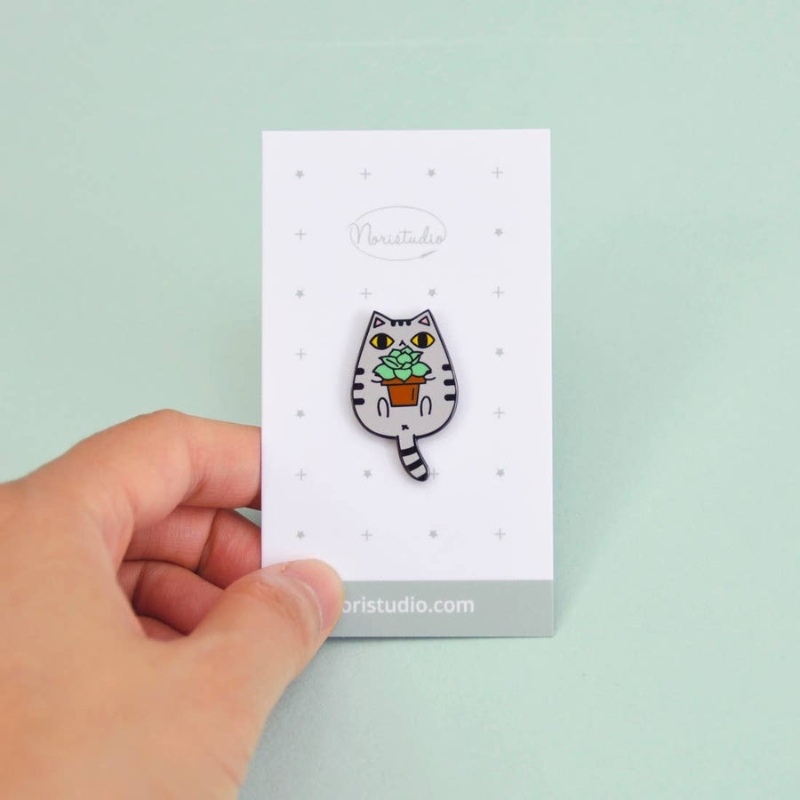 Cat and Plant Enamel Pin