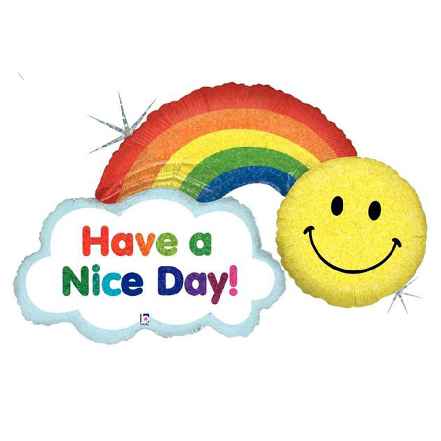 Have a Nice Day Rainbow Smiley Face Balloon