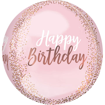 pink blush happy birthday balloon