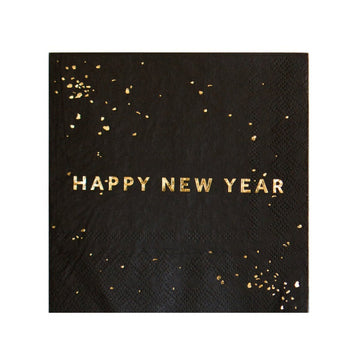 Black Happy New Year Napkins