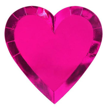 pink foil heart paper plate