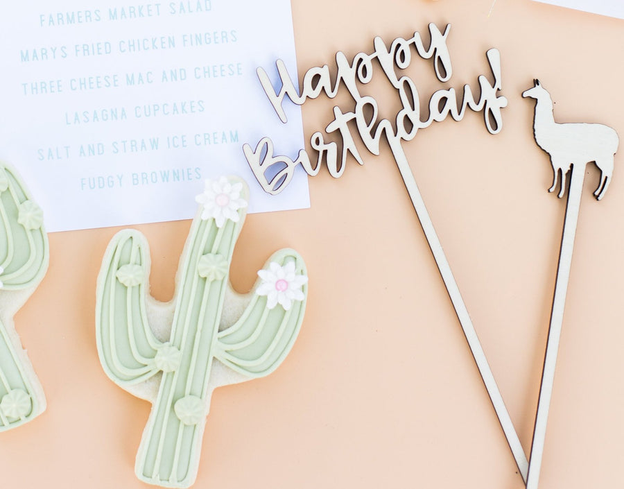 Happy Birthday Llama Cake Topper