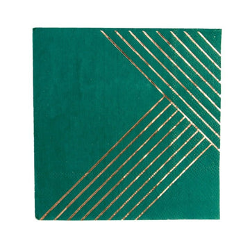 Dark Green Striped Napkins