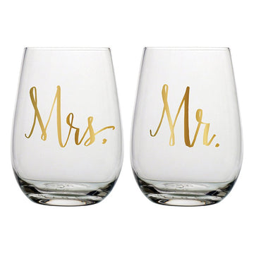Mr. and Mrs Wine Glass Set