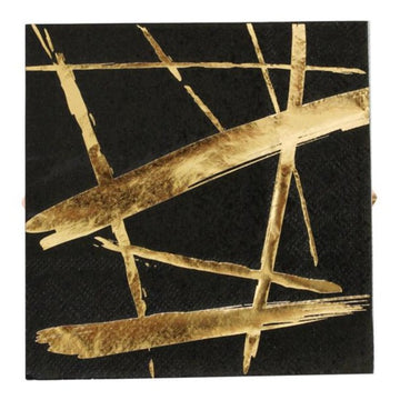 gold streak black napkins