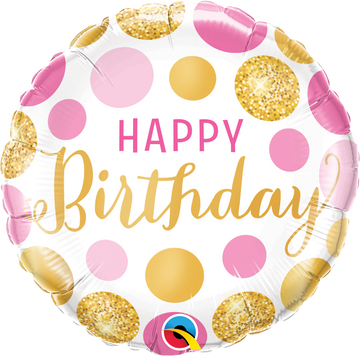 pink gold polka dots happy birthday balloon