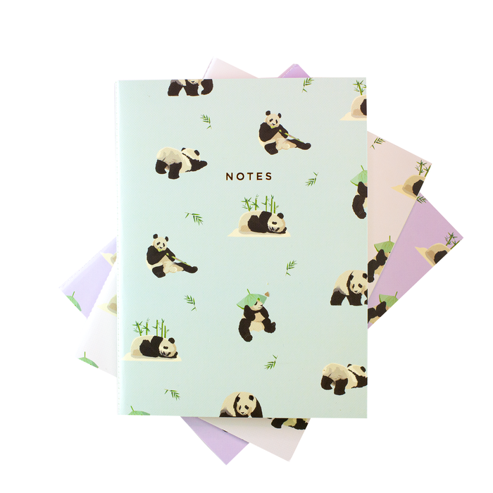 Panda Pattern Notebook - Set of 3