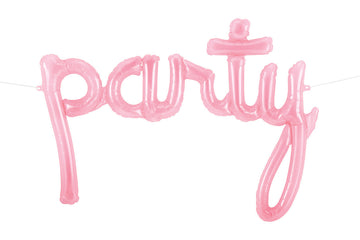 PARTY Pink Clear Script Balloon