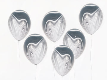 Black Marbled Agate Balloons - 6 pack