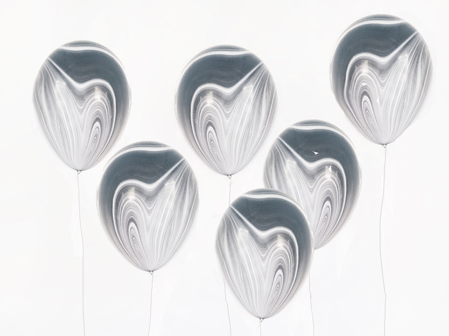 Marbled Agate Balloons - Black/White