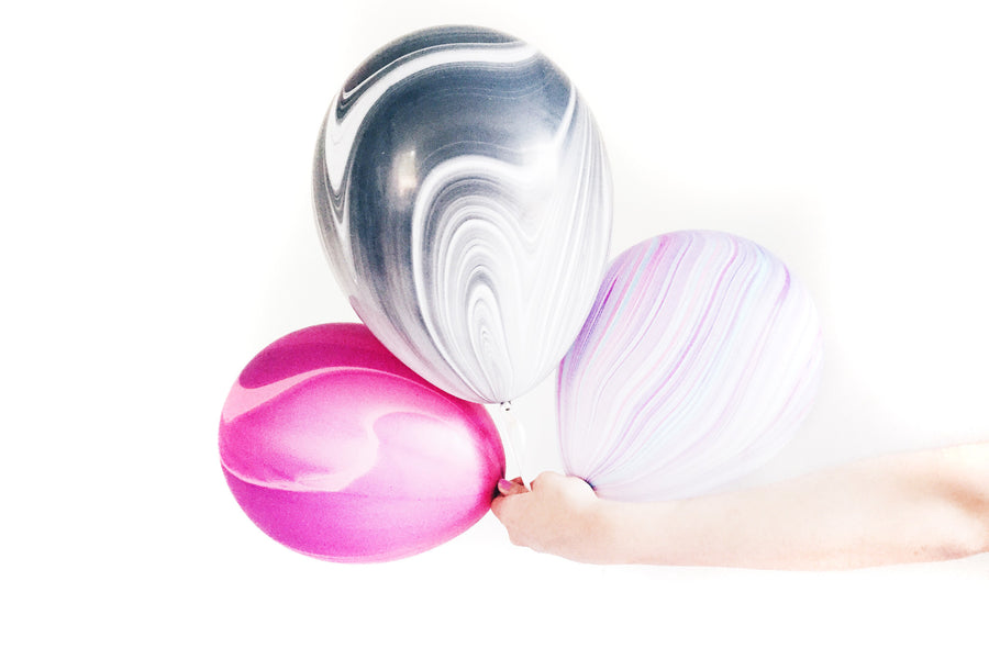 Marbled Agate Balloons - Pink/Purple/White