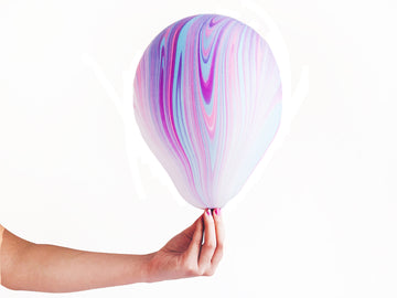 Pink Purple Blue Marbled Agate Balloons - 6 pack