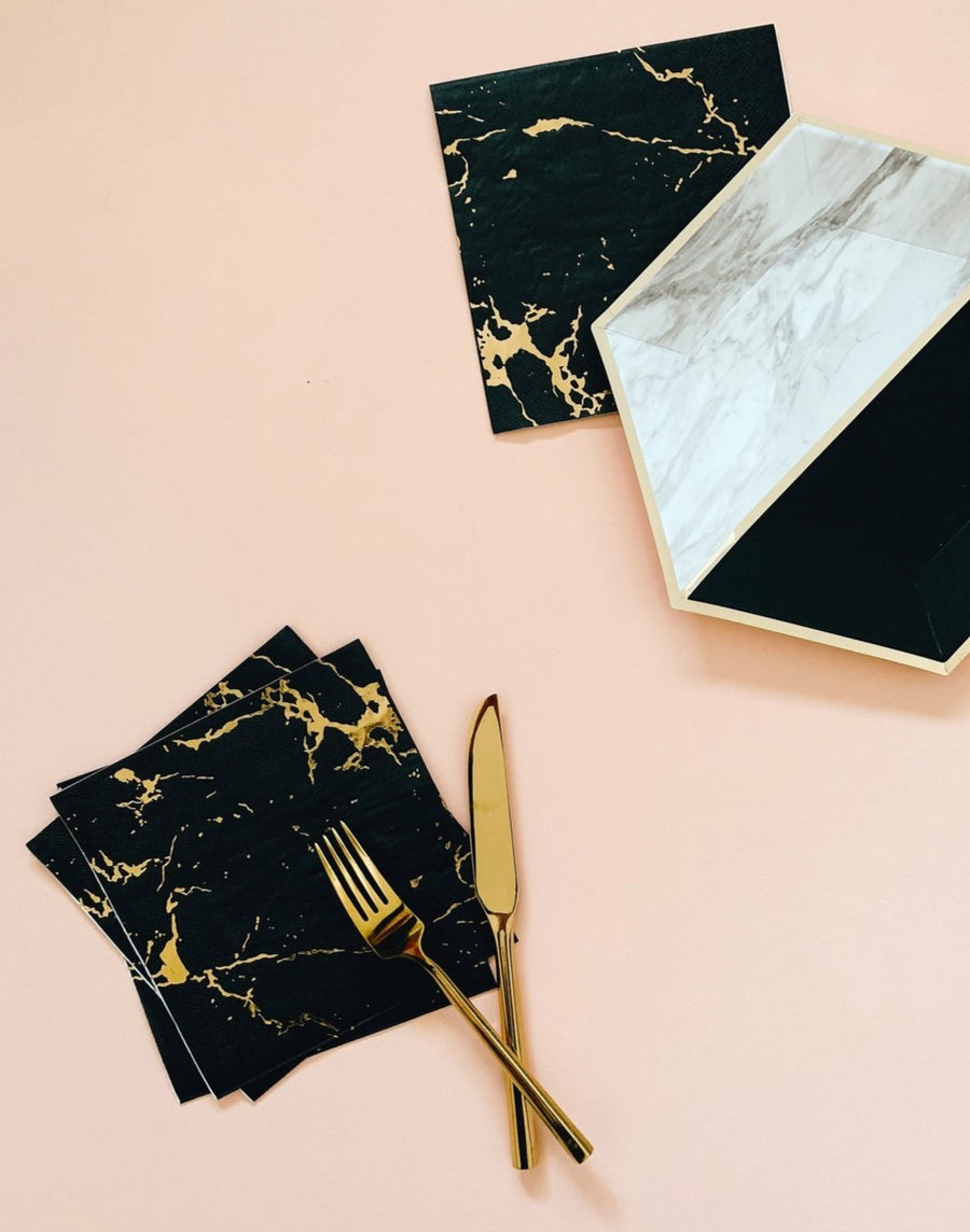 black white and gold marble tableware