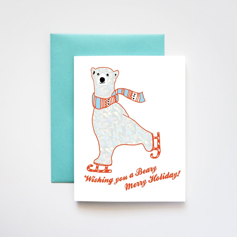 Polar Bear Beary Merry Xmas Card