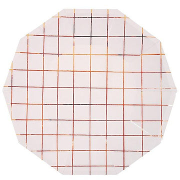 rose gold grid paper plates