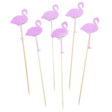 pink flamingo cocktail stirrers