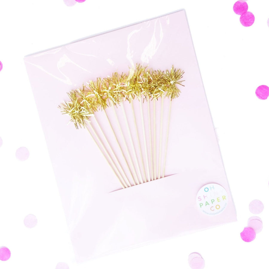 Gold Tinsel Cocktail Stirrer
