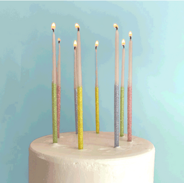 Multicolor Glitter Dipped Candles Set of 16 Large White Birthday Candles Dipped in Sparkling Glitter