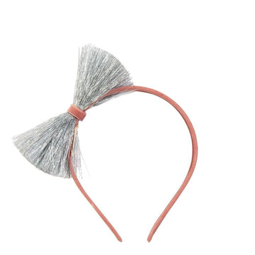 Silver Tinsel Bow Headband