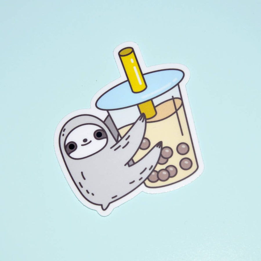 Sloth Loves Bubble Tea Vinyl Sticker