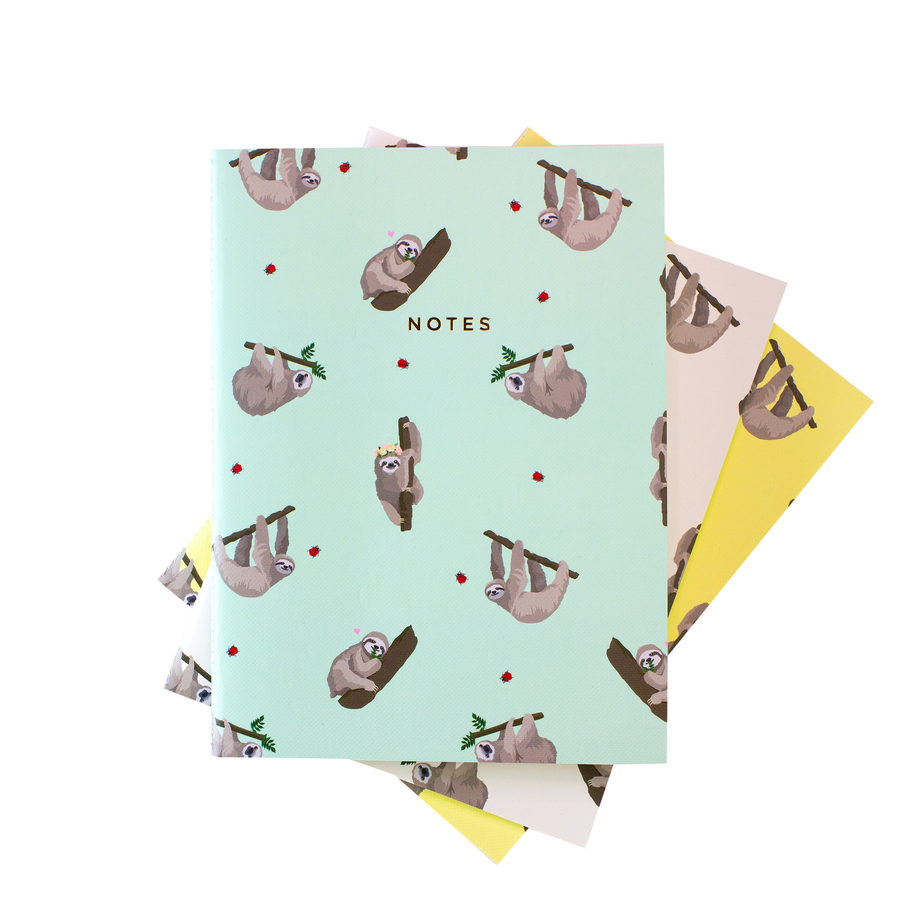 Sloths Pattern Notebook - Set of 3