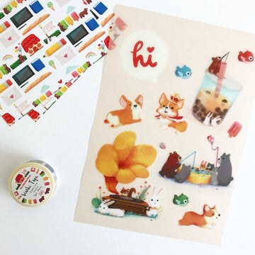 Corgi Boba Washi Stickers