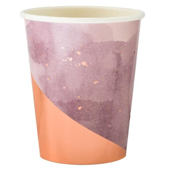 purple and rose gold paper cups