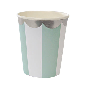 mint white striped silver scalloped paper cups