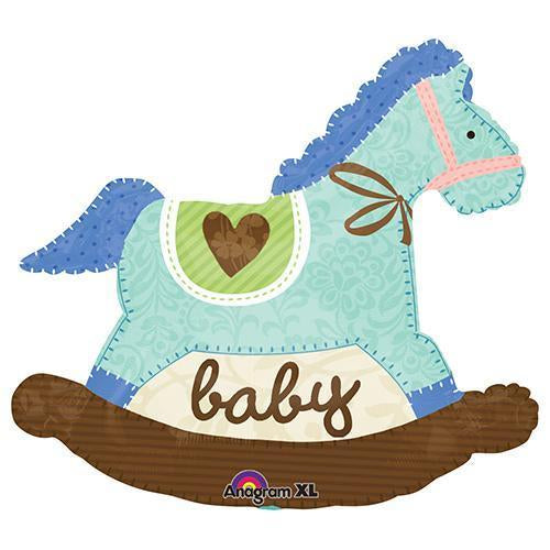 baby blue vintage rocking horse balloon