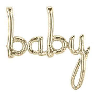 BABY Script Letter Balloon - White Gold