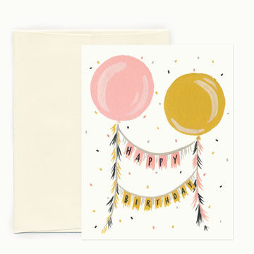 happy birthday balloons banner greeting card