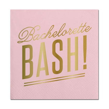 bachelorette bash gold and pink napkins