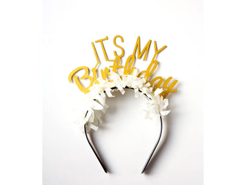 It's My Birthday Headband - Gold
