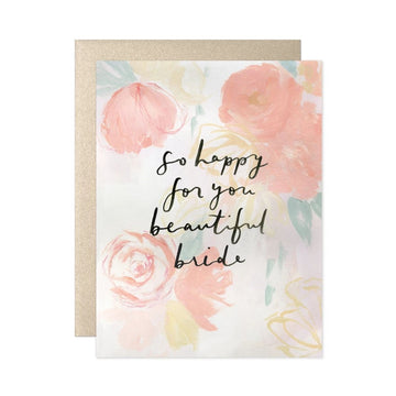 so happy for you beautiful bride floral greeting card