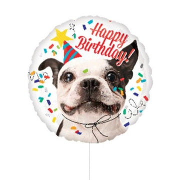 round circle happy birthday dog balloon