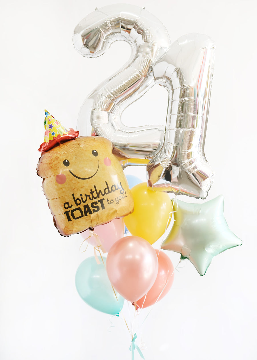 Birthday Toast  Balloongram - Pick your number/colors!