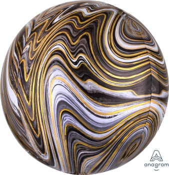 black white & gold marble balloon