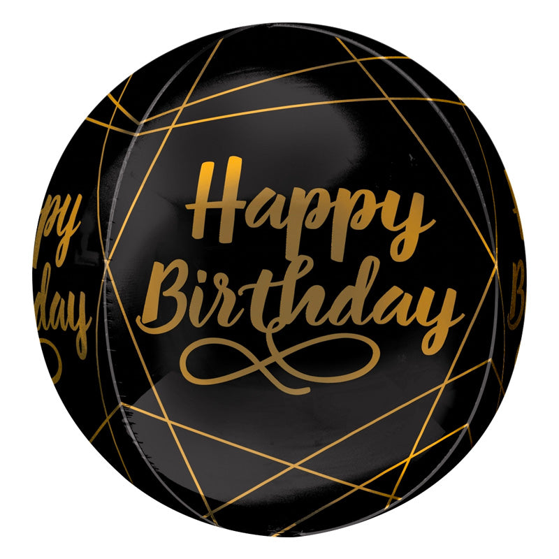 Black Birthday Orb Balloon