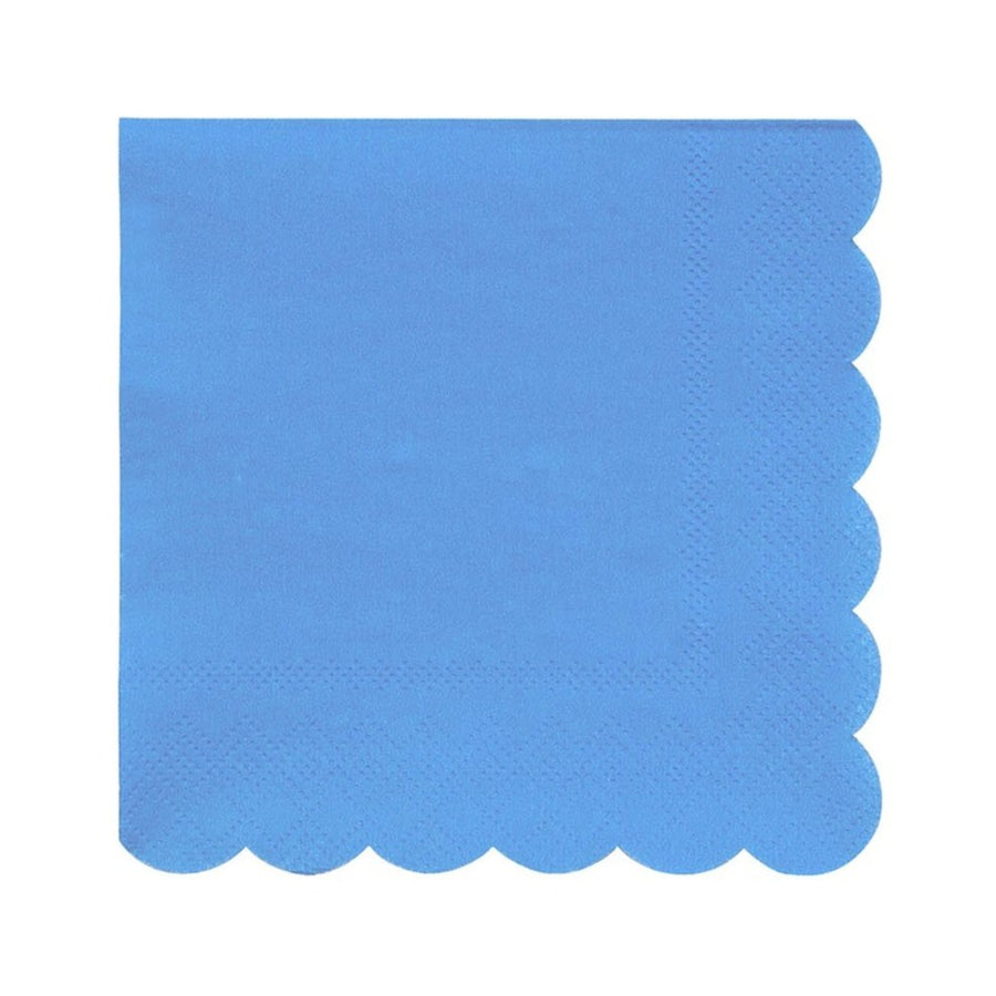 blue napkins scallop edge