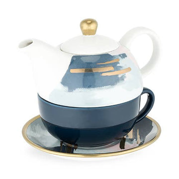 blue white gold teapot set