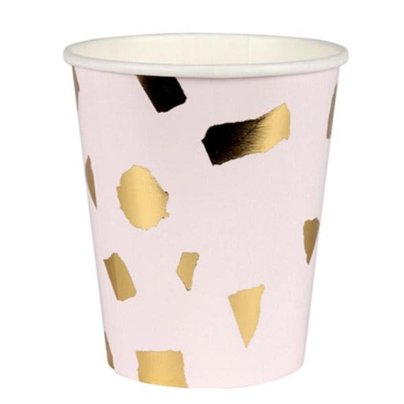 pink and gold terrazzo paper cups