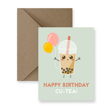 happy birthday cute boba tea pun greeting card