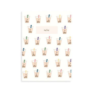 Boba Milk Tea Pocket Grid Notebook