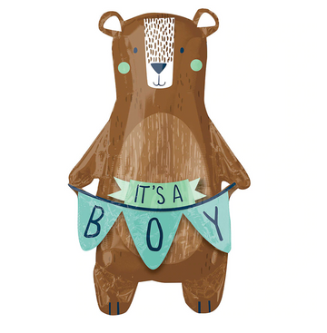 brown bear balloon holding it's a boy flags