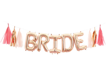 BRIDE Rose Gold Balloon Banner Kit