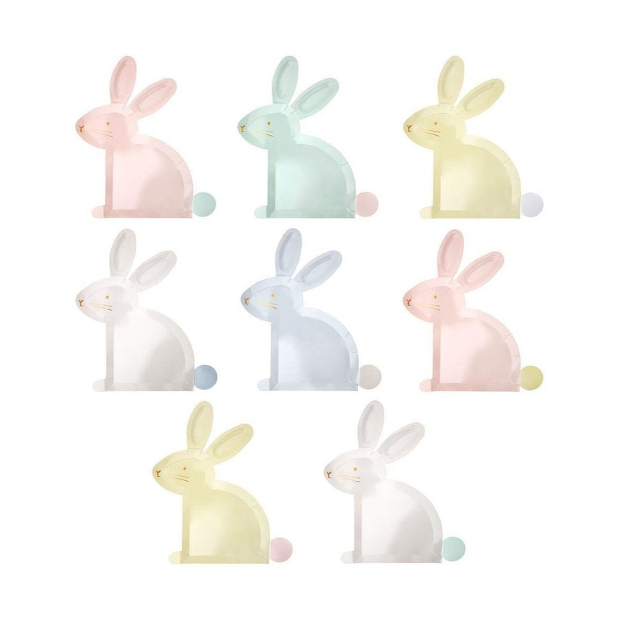 pastel bunny rabbit shaped paper plates