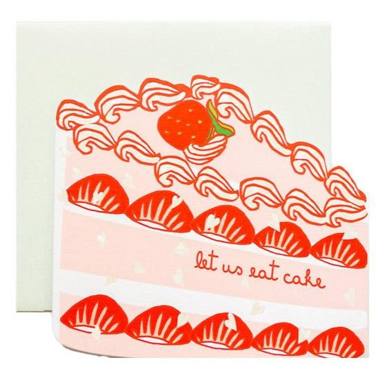 strawberry cake slice greeting card