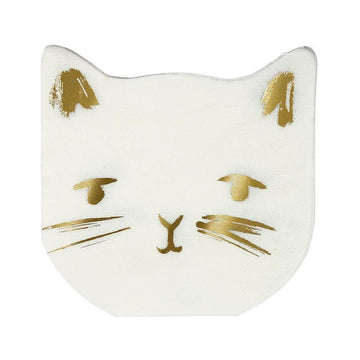white and gold cat napkins