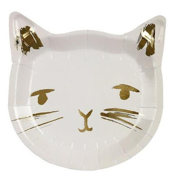 white and gold cat plates